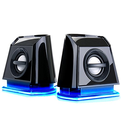 GOgroove BassPULSE 2MX USB Computer Speakers with Blue LED Lights , Dual Drivers & Passive Subwoofer - Works with PC , Apple MAC , Dell , HP , CybertronPC Desktop & Laptop Computers (Computer Speakers And Subwoofer)