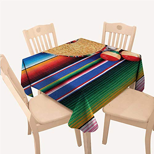 WilliamsDecor Mexican Decorations Collection Polyester tablecloths Mexican Artwork with Sombrero Straw Hat Maracas Serape Blanket Rug ImageGreen Blue Red Ivory Square tablecloths W50 xL50 inch