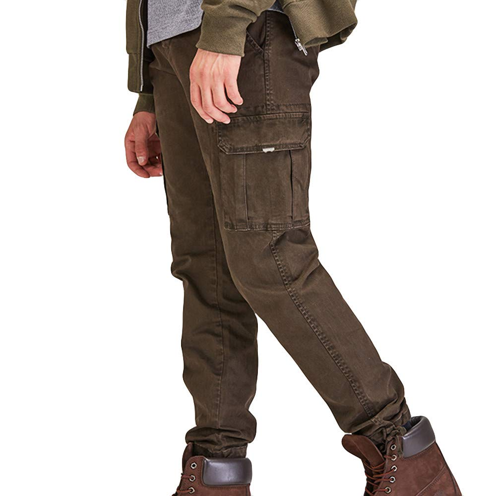 Cargo Pants for Men,Alalaso Men's Fashion Pure Color Multi Pocket Casual Outdoor Overalls Tactical Pants
