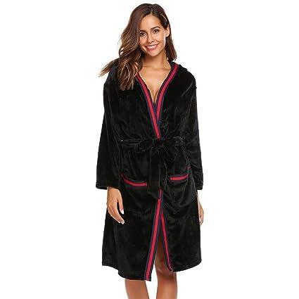 Tina Ropa de Dormir Bata Mujer Albornoz Casual Manga Larga con Capucha Mujer Invierno cálido Kimono