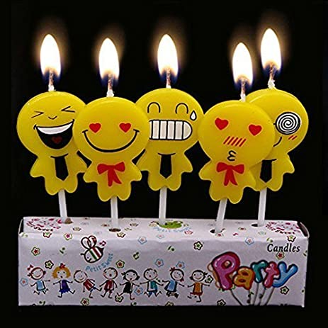 Amazoncom Emoji Candles Candle 5 Pack Cake Toppers Smiley Smile