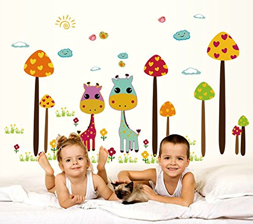TOTOMO #W145 Mushroom Giraffe Wall Decals Removable Wall Decor Decorative Painting Supplies & Wall Treatments Stickers for Girls Kids Living Room Bedroom