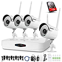 ANNKE 4CH 1080P Wireless Surveillance CCTV NVR Kits with 4x 2.0MP Security IP66 Outdoor IP Cameras, Auto-Pairing, Plug&Play, 100ft/30m Night Vision, P2P, One 1TB HDD