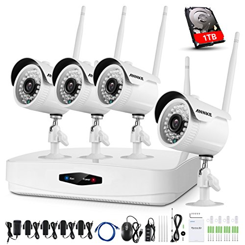 ANNKE 4CH 1080P Wireless Surveillance CCTV NVR Kits with 4x 2.0MP Security IP66 Outdoor IP Cameras, Auto-Pairing, Plug&Play, 100ft/30m Night Vision, P2P, One 1TB HDD by ANNKE