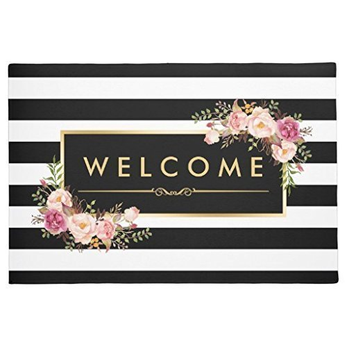 Classy Black White Stripes Beautiful Floral ndoor/Outdoor Doormat Indoor/Outdoors Decor Mat Rugs? 18x30inch