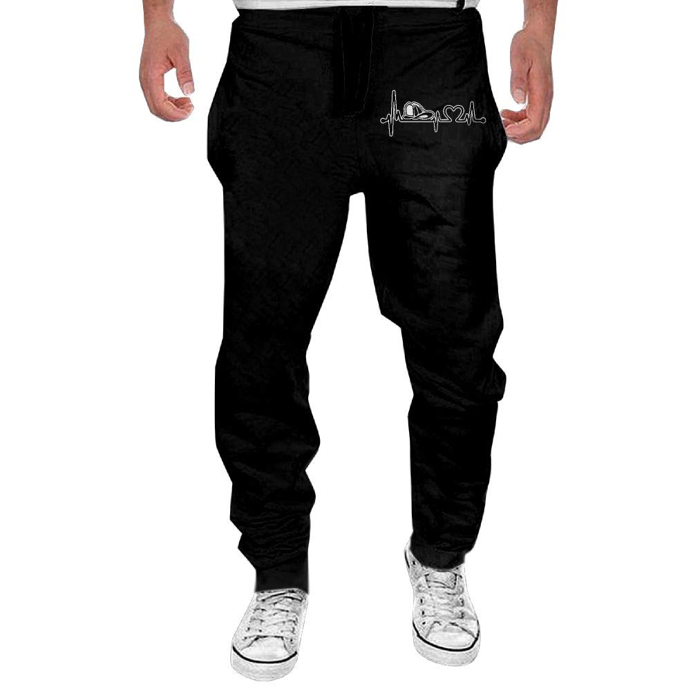 Men's Love Firefighter Heartbeat Casual Cotton Jogger Pants,Running Beam Trousers
