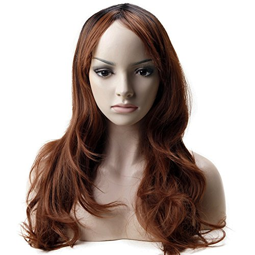 Women Ombre Wigs Dark Root Long Wavy Heat Resistant Fiber Synthetic Hair for Cosplay Costume Free Wig Cap Light Auburn