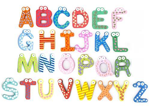 PENTA ANGEL 26Pcs Wooden Magnets Fridge Letters Wood Large Magnetic Refrigerator ABC Alphabet Cute Spelling Learning Game Toys for Kids Baby Girls Boys Toddler Preschool Educational (Letter)
