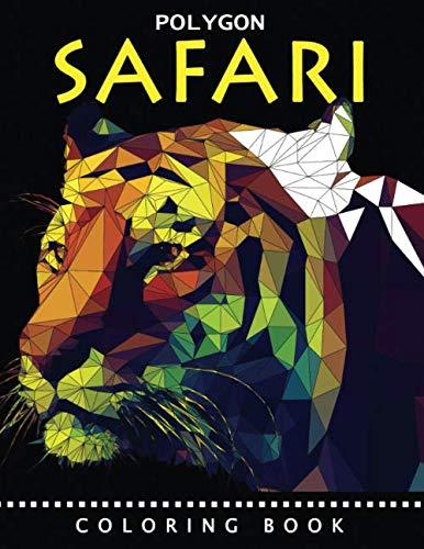 Polygon Safari Coloring Book: Animals Stress Relieving Unique Design