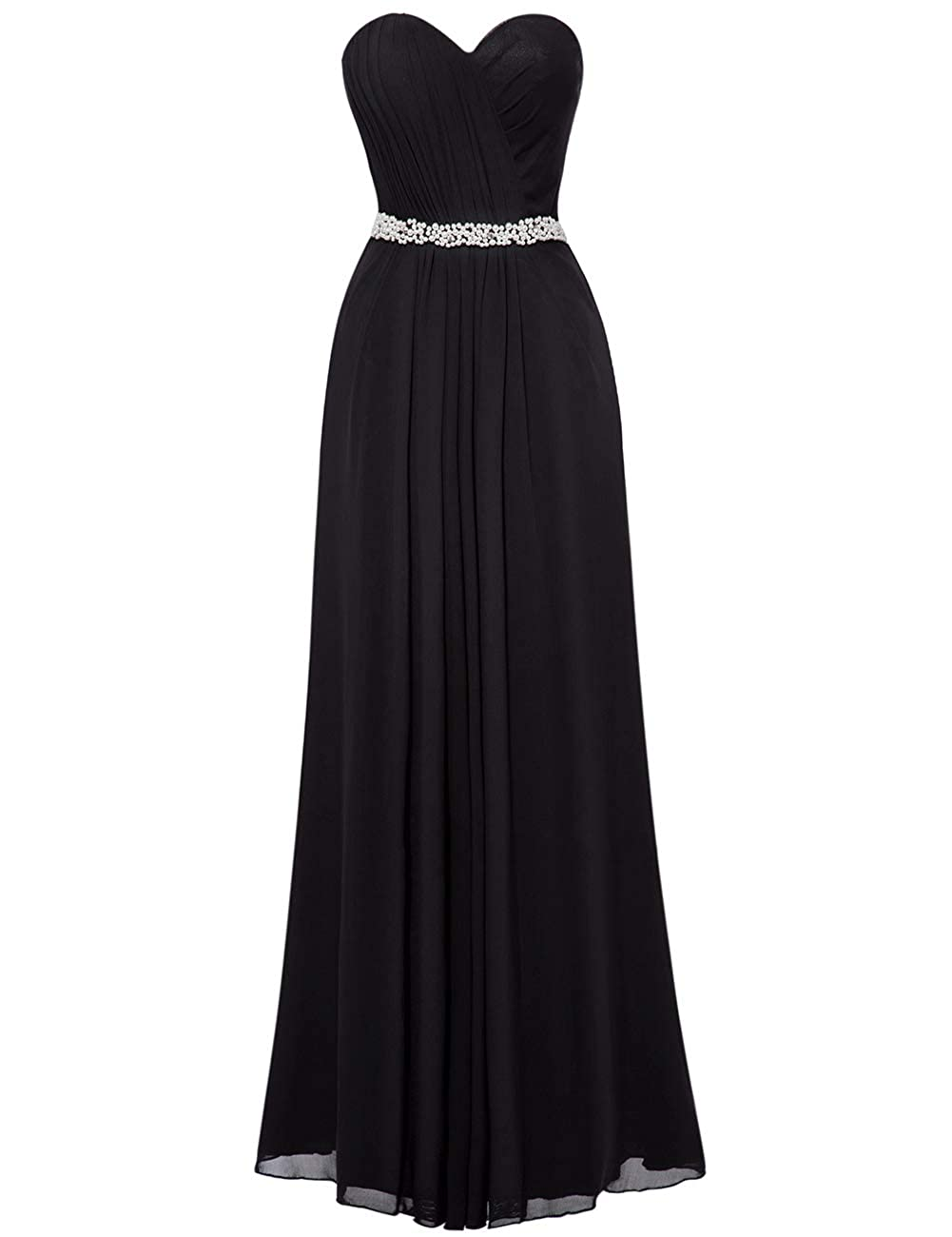 Black Uther Bridesmaid Dresses Sweetheart Pleats Long A Line Beaded Formal Women Prom Gown