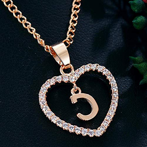 (Kaputar Womens Gold Tone Initial Alphabet Letter A-Z Love Heart Pendant Chain Necklaces | Model NCKLCS - 18671 |)
