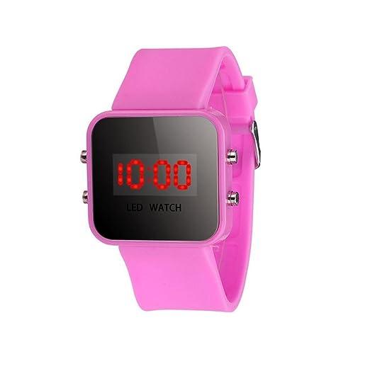 Sannysis® Pantalla LED Digital correa de silicona reloj del deporte Rosa: Amazon.es: Relojes