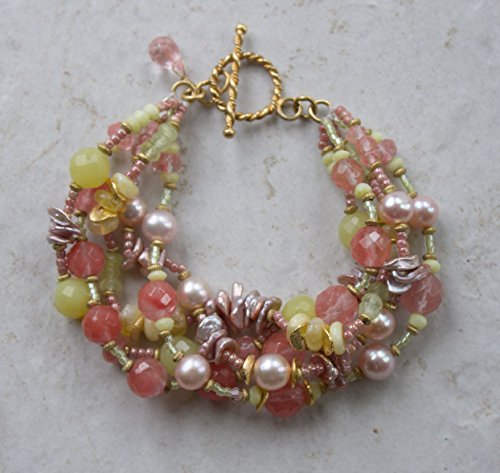 (Cherry Quartz, Pearl & Lemon Jade Multi Strand Bracelet)
