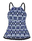 Firpearl Women's Swimsuit High Neck Retro Ruffle Hem Tankini Top Swimwear Blue&White Floral 14