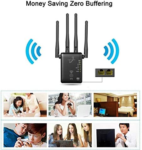 VICTONY 1200Mbps Wireless Dual Band WiFi Range Extender with 4 x 3dBi External Antennas, 2.4GHz + 5GHz, Wi-Fi Signal Booster, Wall Plug, Ethernet Port, WiFi Extender