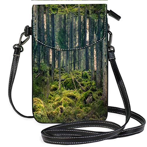 Multicolor Shoulder Messenger Bag Phone Purse Old primeval Forest with Nice Lights and Shadows Lightweight, Water Resistant Travel Purse for Women