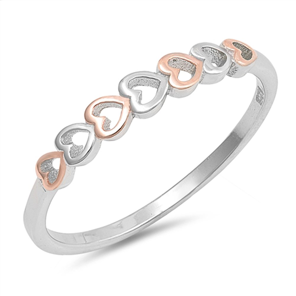 Rose Gold-Tone Heart Promise Ring New 925 Sterling Silver Cutout Band Sizes 4-10 Sac Silver