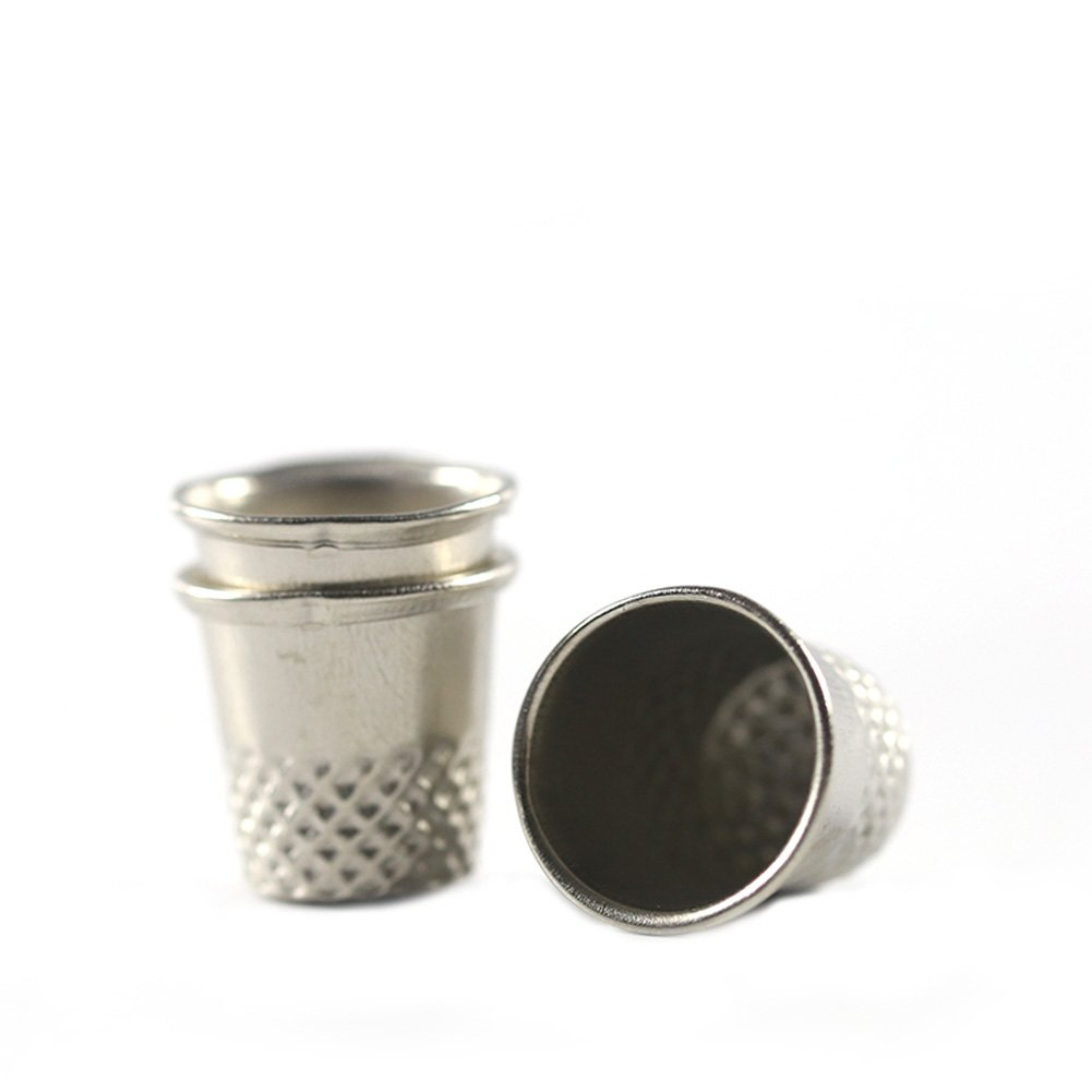 dianlan1Vintage cucito di metallo sartoriale Proteggi dito impugnature Pin Shield Pin Needle Grip Silver macchina da cucire handworking DIY Craft Tools Confezione da 3unità