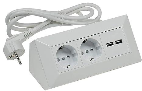 Steckdosenleiste Mehrfachsteckdose 4 fach mit 2 USB Port 5 V 2,1 A 1,5 m weiß