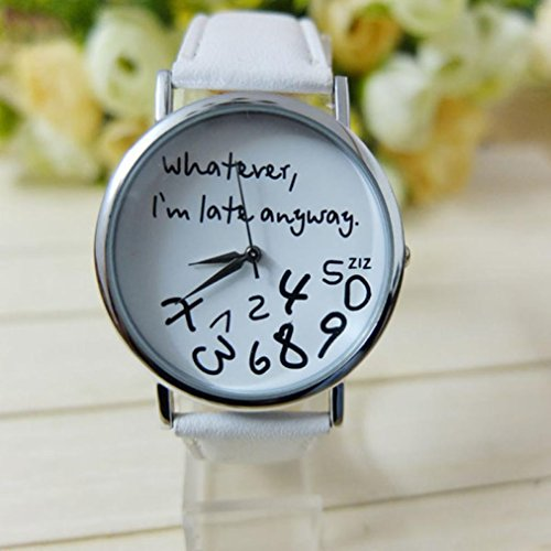 Tenworld Women Lady Girl Gift Analog Quartz Faux Leather Wrist Watch (White)