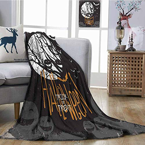 SONGDAYONE Living Room/Bedroom Warm Blanket Halloween Themed Image with Full Moon and Jack o Lanterns on a Tree Lightweight E x tra Big W70 xL93 Black White -