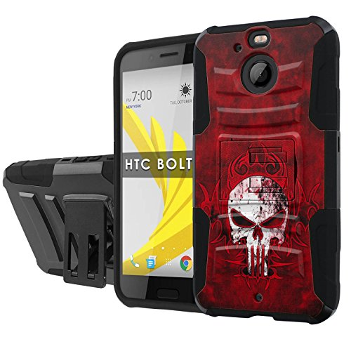 "HTC BOLT Phone Case [NakedShield] [Black/Black] Total Defense Armor Case [KickStand] [Holster] [Screen Protector] - [Tribal Punisher] for HTC BOLT [5.5"" Screen]"