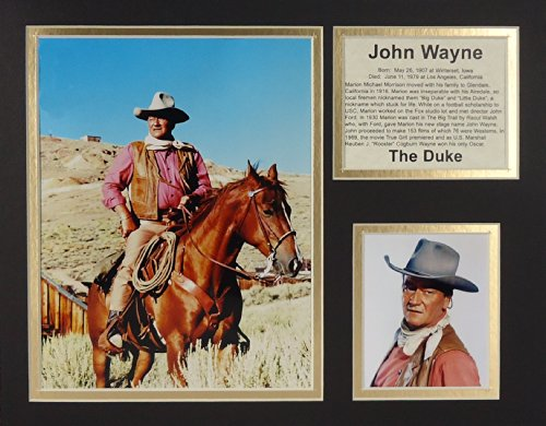 """John Wayne - On Horse 11"""" x 14"""" Unframed Matted Photo Collage by Legends Never Die, Inc."""