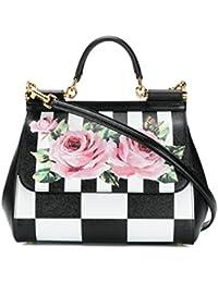 Women's BB6002AN186HWI10 White/Black Leather Handbag