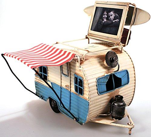 51wDgHptoEL Unbekannt Wohnwagen aus Metall 23 cm hellblau mit Rahmen und Spardose Camper Auto Oldtimer Nostalgie