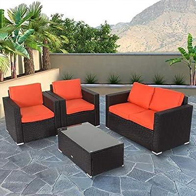 Kinbor New 4 PCs Black Rattan Patio Outdoor Furniture Set Garden Lawn Sofa Sectional Set