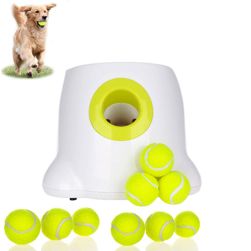 Automatic Dog Ball Launcher, Pet Toy Tennis Launcher Pet Ball Throwing Device 3/6/9 M Dog Indoor Outdoor Game (with 9 Tennis Balls) White by DOOKK