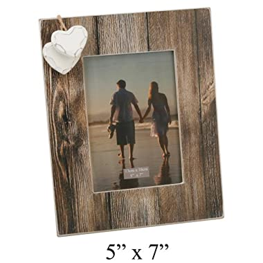 Distressed Wood Effect 5  x 7  Photo Frame with Hanging Hearts By Haysom Interiors