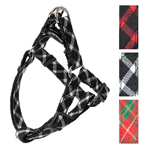 PUPTECK Adjustable Basic Dog Harness - Step in Nylon Puppy Vest 3 Colors for Outdoor Walking Black & White M