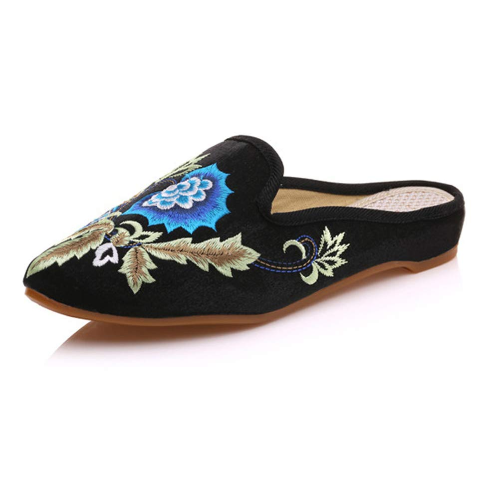 Amazon.com: KathShop Women Slippers Pointed Toe Floral Embroidered Summer Sandal Comfort Slip-on Satin Flat Shoes Woman Zapatillas Mujer Plus Size 43: ...