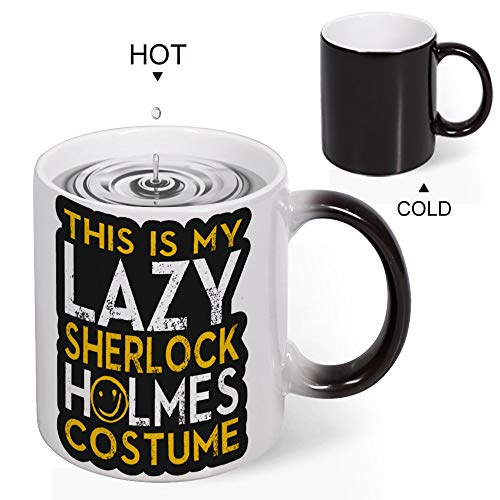 Heat Sensitive Mug Custom Heat Sensitive Mug Funny Coffee Cup Heat Activated Teacups, This Is My Lazy Sherlock Holmes Costume. Halloween, 11 OZ -