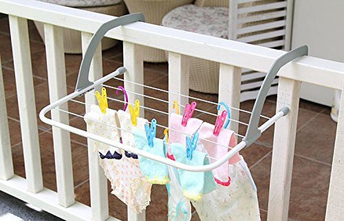 Indoor/Outdoor Portable Clothes Hanging Drying Rack | White | Rust Proof Material | Heat Resistant Up To 158 Fahrenheit/70 Celsius | Foldable Plastic Handle For Easy Storage | Hold Up To 11 Pounds by JustNile (Image #3)