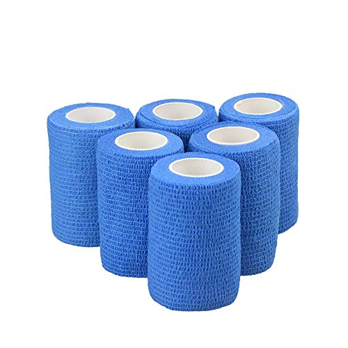 BuySoft 6 Rolls Adhesive Bandages Stretch Self Cohesive Tape Adherent Wrap Elastic Breathable Hand Tear Athletic Tape for First Aid Sports Pets Wrist Ankle Sprains (Blue, 3 Inches X 5 Yards)