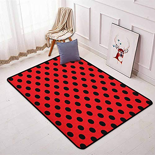 Red and Black Better Protection Retro Vintage Pop Art Theme Old 60s 50s Rocker Inspired Bold Polka Dots Image Kid Game Carpet W31.5 x L59 Inch Scarlet (Retro Rocker Boat)