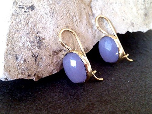 - Light purple earrings, Chalcedony Earrings,Lavender earrings,Glossy Lilac,Pink Opal earrings,Gold Earrings,Bezel Earrings,Dangle