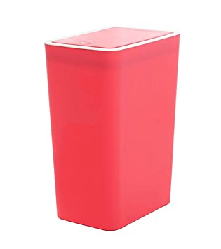 Hflove Snap-button Closing Office Wastebaske Kitchen Plastic Trash Can,9L  (Red)