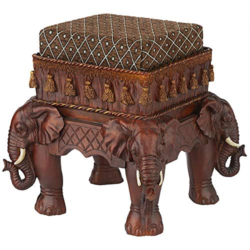Design Toscano Maharajah Elephants Indian Decor Upholstered Footstool, 13 Inch, Polyresin, Woodtone from Design Toscano