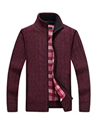 Yeokou Men's Casual Slim Fit Full Zip Thick Knit Cardigan Sweaters with Pockets