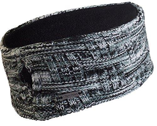 TrailHeads Womens Space Dye Knit Ponytail Headband - Black & White