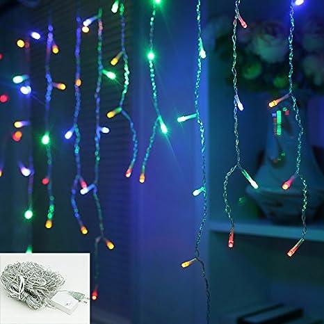 400leds Kalt-weiss VINGO LED Eisregen Lichternetz Lichterkette Wasserdicht f/ür Wedding Weihnachten Festlich au/ßen Schaufenster