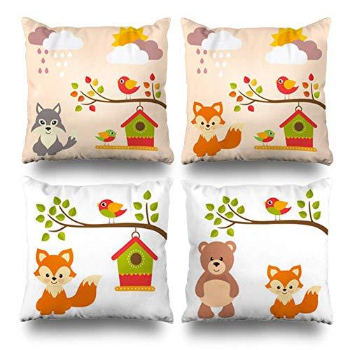 Semtomn Set of 4 Throw Pillow Covers Cute Animal Fox Bear House Cartoon Bird Branch Rainy Day Sunny Home Decorative 18