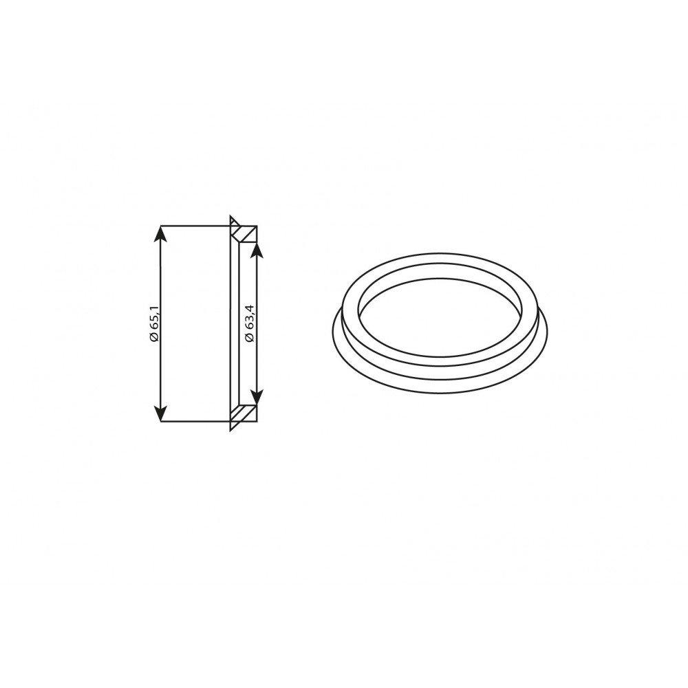Bague de centrage en aluminium 65,1//63,4 mm Kit 4 pi/èces