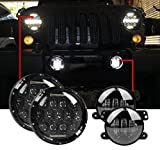 headlights for jeep - 7'' Black 75w LED Driving Headlights with DRL+ 4 Inch LED Front Fog Lights for Jeep 97-2017 JK TJ LJ