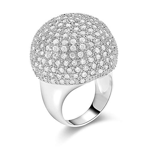 dnswez Fashion Gold/Silver Tone Large Rings CZ Cubic Zirconia Disco Ball Statement Cocktail Dome Ring for -