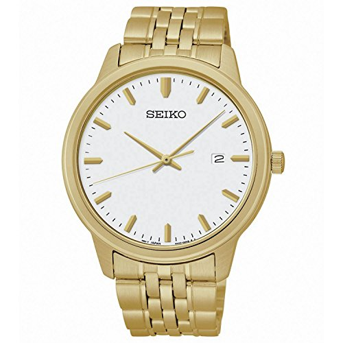 Seiko-Quartz-White-Dial-Gold-Tone-Mens-Watch-SUR096