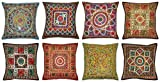 Handmade Embroidered and Mirror Work Indian Cotton Throw Pillow Cushion Covers 16 X 16 Inches Set of 5 Pcs By Sophia Art